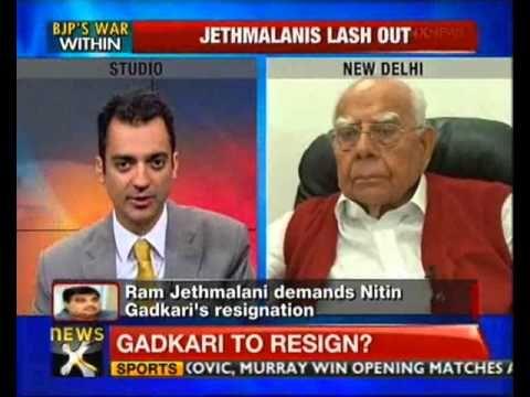 Gadkari should resign to face his own face: Jethmalani - NewsX......It's an all-out assault from the father-son duo, Mahesh and Ram Jethmalani, and Nitin Gadkari is reeling from the knocks. A day after senior     leader Mahesh Jethmalani resigned from BJP's national executive citing corruption charges against Nitin Gadkari.