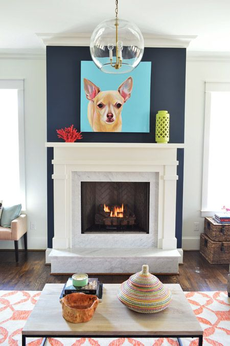 Young House Love | The Heart of The (Show) Home | http://www.younghouselove.com - gas fireplace