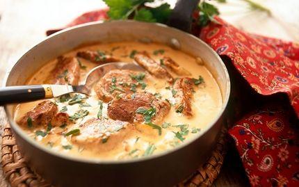 Fläskfilégryta med ost- och senapssås