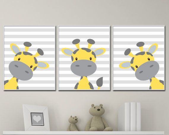 Baby Giraffe Nursery Art. Yellow And Grey Nursery by HopAndPop