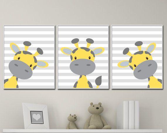 Baby Giraffe Nursery Art. Yellow And Grey Nursery Art Decor. Giraffe Nursery Art…