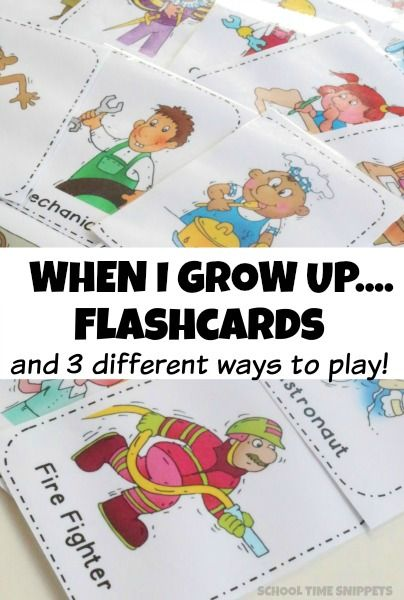 Free printable flashcards to use with your preschooler exploring the different jobs he/she could have when they grow up!