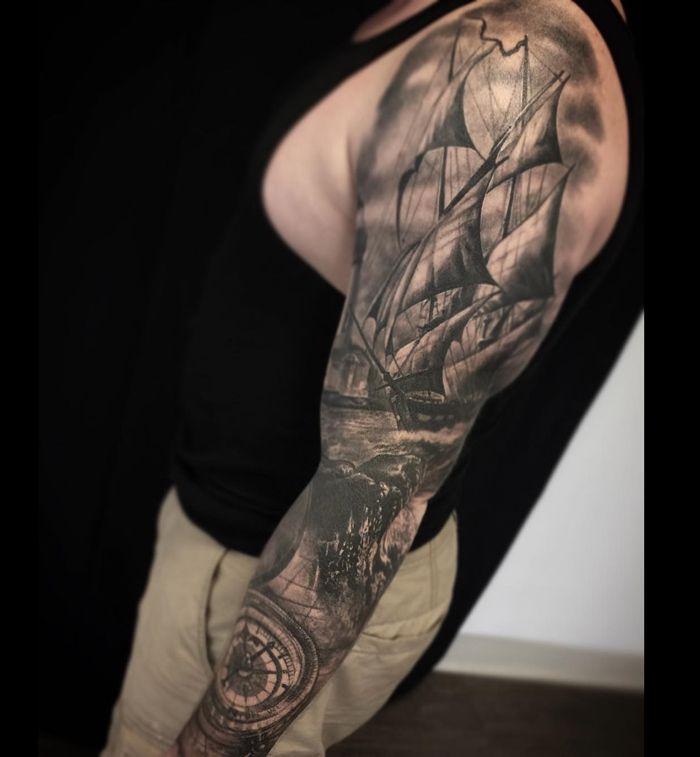 Nautical Tattoo Poseidon And Ship: Tattoo Designs, Tattoo Ideas