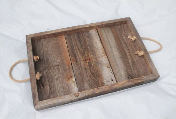 Old Barn Board Tray, Rustic Wooden Tray, Coffee Table Tray, Centerpiece Tray, Wedding Tray, Ottoman Tray, Wood Serving Tray – Handmade