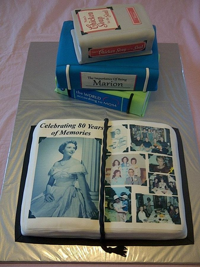 Inspired by 'dittle'.  Photo album cake for an 80th birthday. Open book is lemon with vanilla/almond bc and the stacked books, (all Marion's special additions) ... are chocolate fudge with chocolate bc.