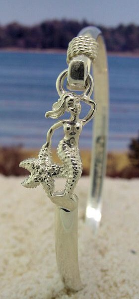 Mermaid Sterling Silver Hook Bracelet with Nautical Rope.