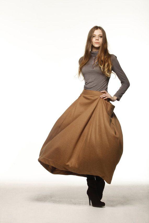 Lagenlook Maxi Skirt Big Pockets Skirt Big Sweep Long Woolen Skirt in Golden Camel- NC479