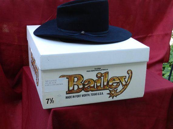 Vintage Bailey Cowboy Hat Mesquite 4x Black In Box Cowboy Hats Mens Hats Vintage Black Ribbon