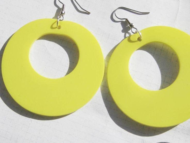 Vintage Yellow retro GOGO dancers Big plastic hoops EARRINGS