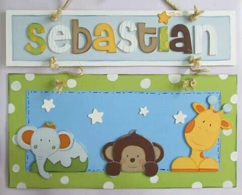 Letrero en Mdf  personalizados  Facebook Crafts by Iris instagram @craftsbyiris tema de Jungla. Hospital door hanger.