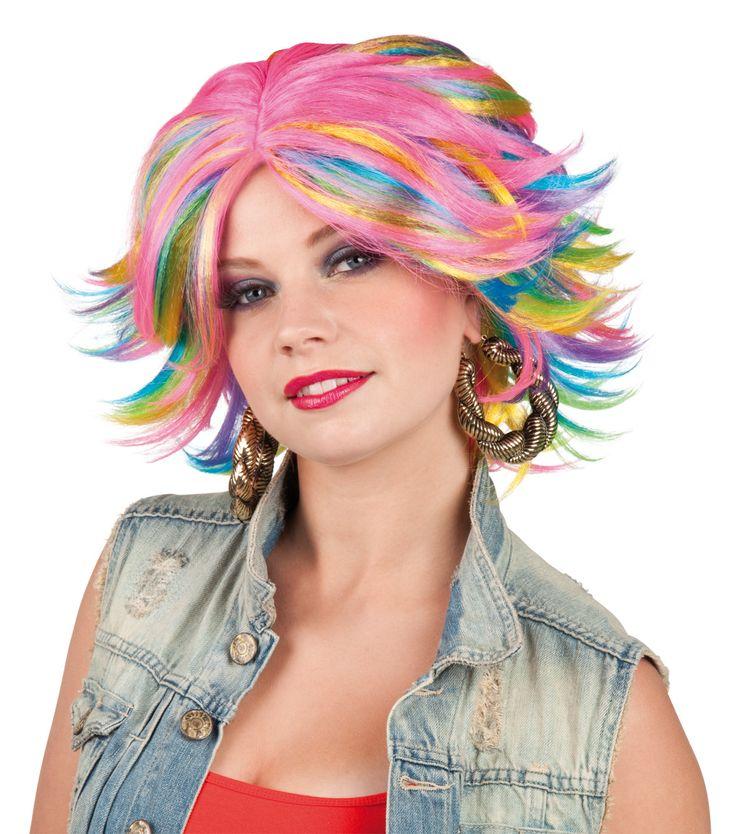 Perruque multicolore femme : Cette perruque multicolore représente un carré dont les pointes sont dirigées vers l'extérieur. Cette perruque sera parfaite en complément de votre...