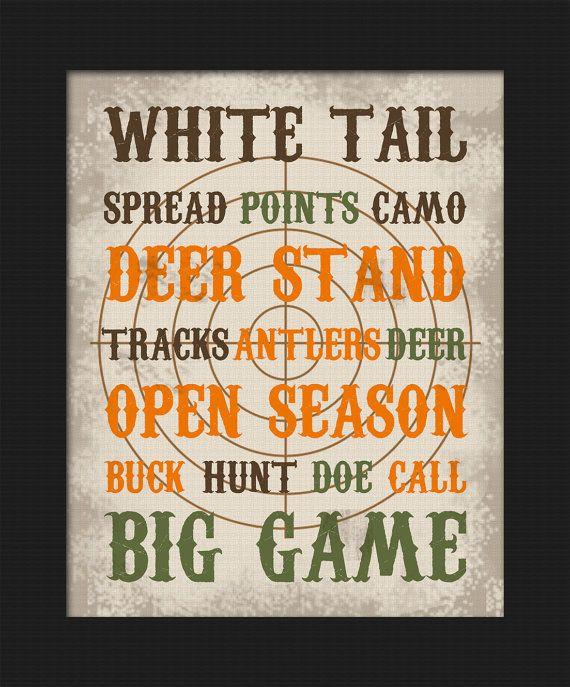 Hunting themed White Tail Deer Subway Art Boy'…