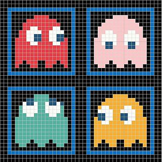 This is a chart for a pac-man pillow I made up for an 8-bit swap. I used a cross stitch/charting program and eye-balled from some pictures.