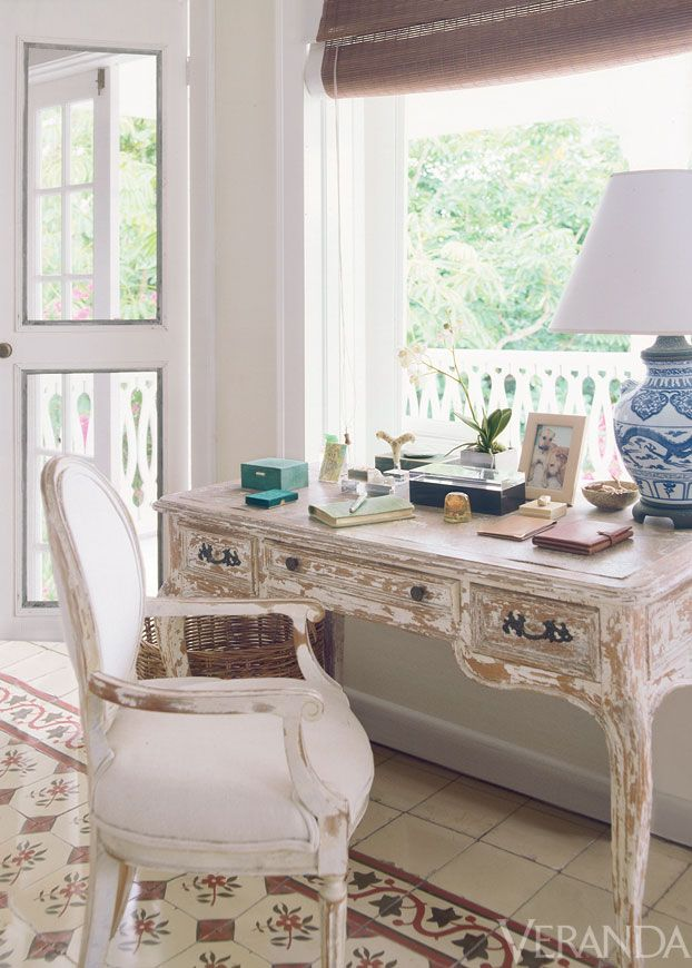 Cherished Memories: India Hicks desk holds one of her favorite mementos: a rose from Princess Diana's bridal bouquet. (India was one of the flower girls at the royal wedding.)