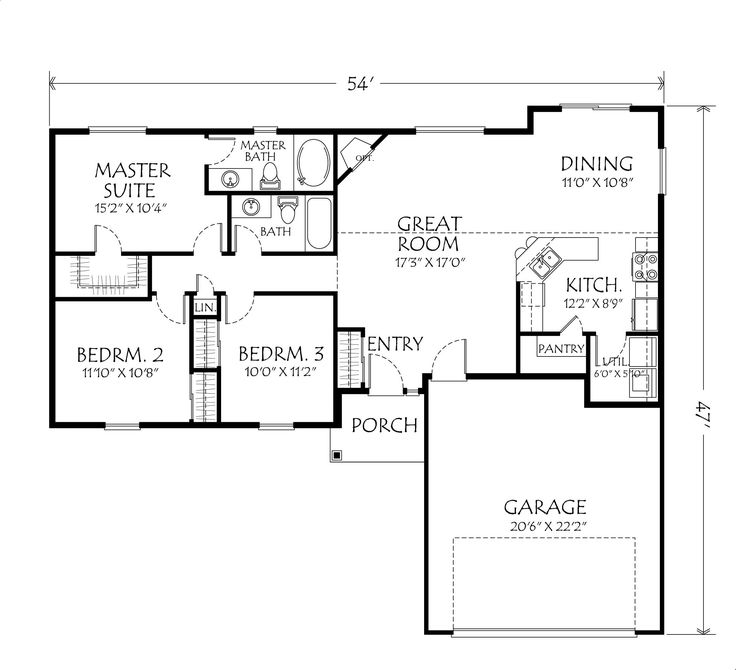Single story open floor plans single story plan 3 for House plans 3 bedroom 1 bathroom