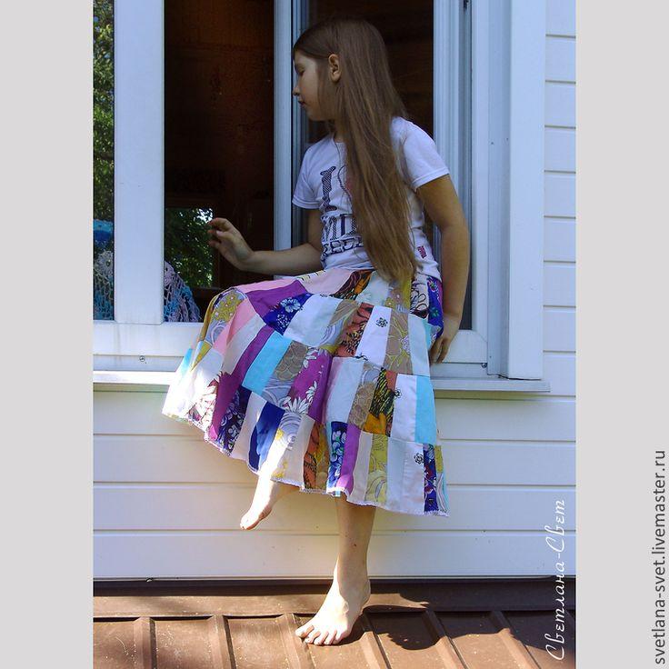 Купить Юбка из лоскутков для девочки Полевой цветок - юбка в стиле пэчворк, юбка из лоскутов