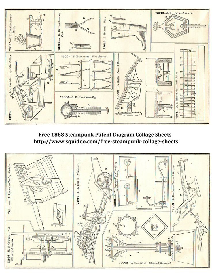 Free Digital Collage Sheet Steampunk Inventions Il Rations Patent Diagrams