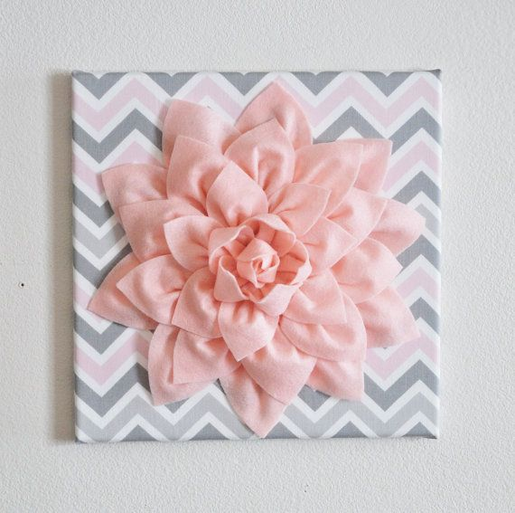 "TWO Wall Flower Decor -Light Pink Dahlia on Pink and Gray Chevron 12 x12"" Canvas Wall Art- Baby Nursery Wall Decor-"