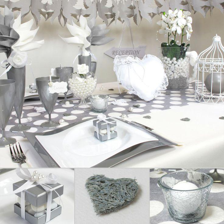 Table classieuse pour un mariage en blanc et gris.