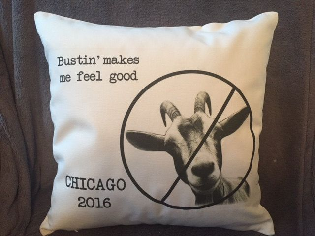 funny chicago cubs goat curse throw pillow cover, decorative throw pillow, goatbusters by MinnieandMaude on Etsy