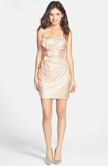 Hailey logan ruffle metallic tube dress juniors online for Nordstrom short wedding dresses