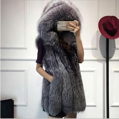 Women Long Fake Mink Fur Waistcoat gothic Gray