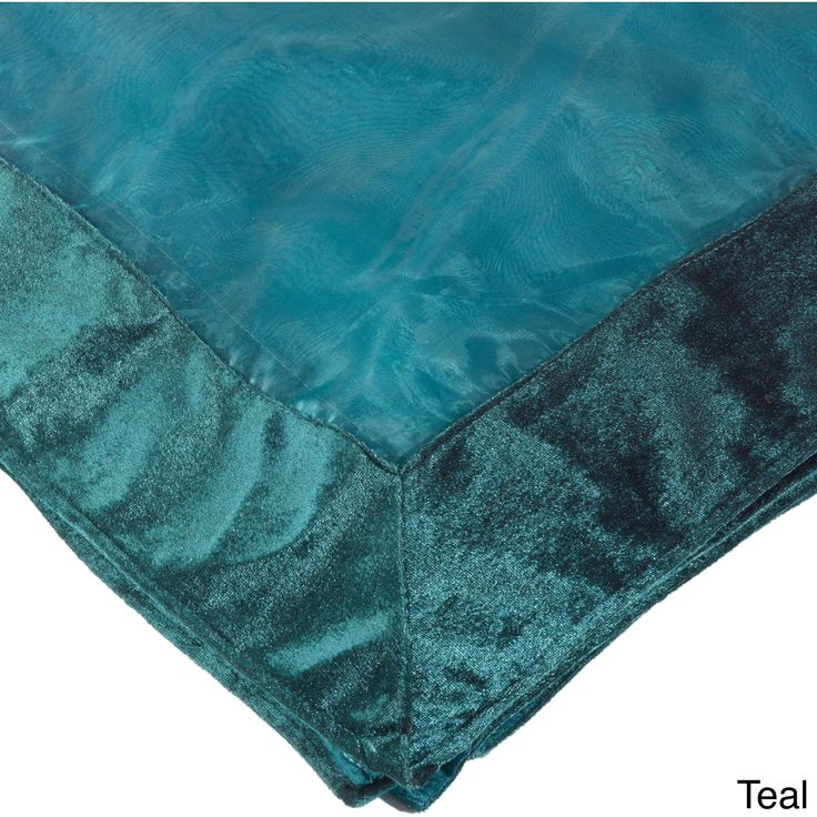 Saro Sheer Velvet Trimmed Table Linens (Aqua Topper 54 In X 54 In), Blue,  Size 54 X 54 (Polyester, Border)