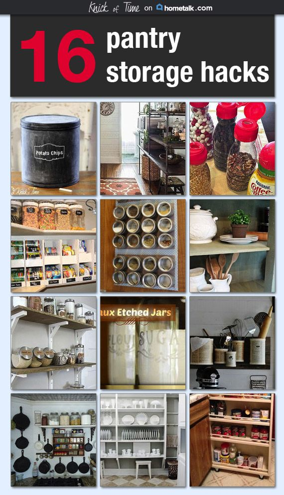 16 Pantry Storage Hacks many made with recycled and repurposed items