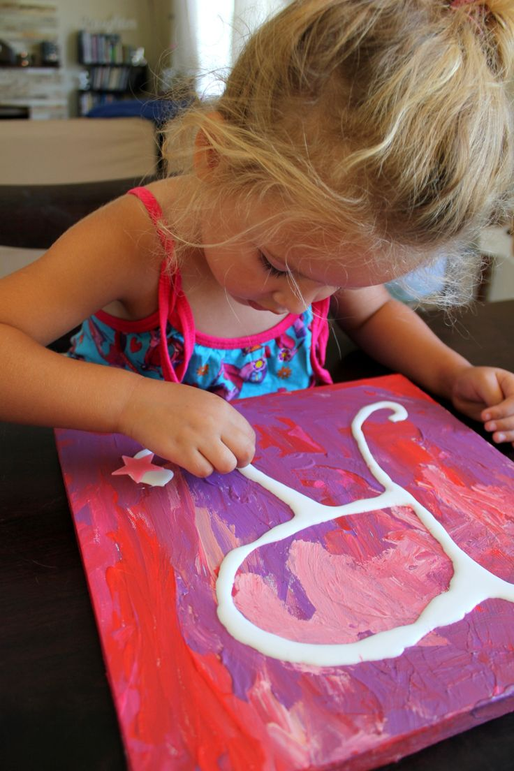 Have children paint a design on a canvas. Let it dry and then glue their initial on. Finally add decorations - glitter, beads, foam shapes, buttons etc!
