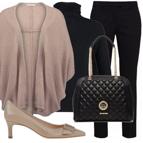 Questo outfit piuttosto classico, è composto da due calde maglie in cachemire, un semplice pantalone nero, un borsa a spalla trapuntata e delle scarpe con tacco gattino.