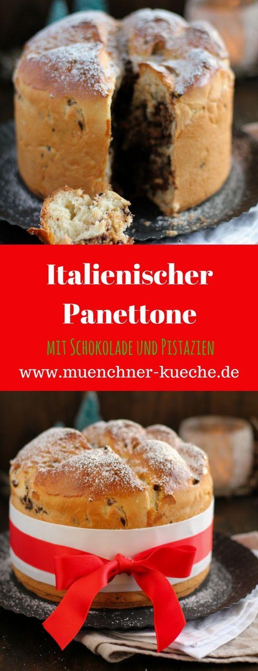 Der Panettone wird in Italien zur Weihnachtszeit gebacken. Ich hab ihn mit Schokolade und Pistazien verfeinert | www.muenchner-kueche.de #panettone #italien #weihnachten