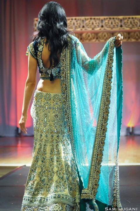 gorgeous blue/green lengha