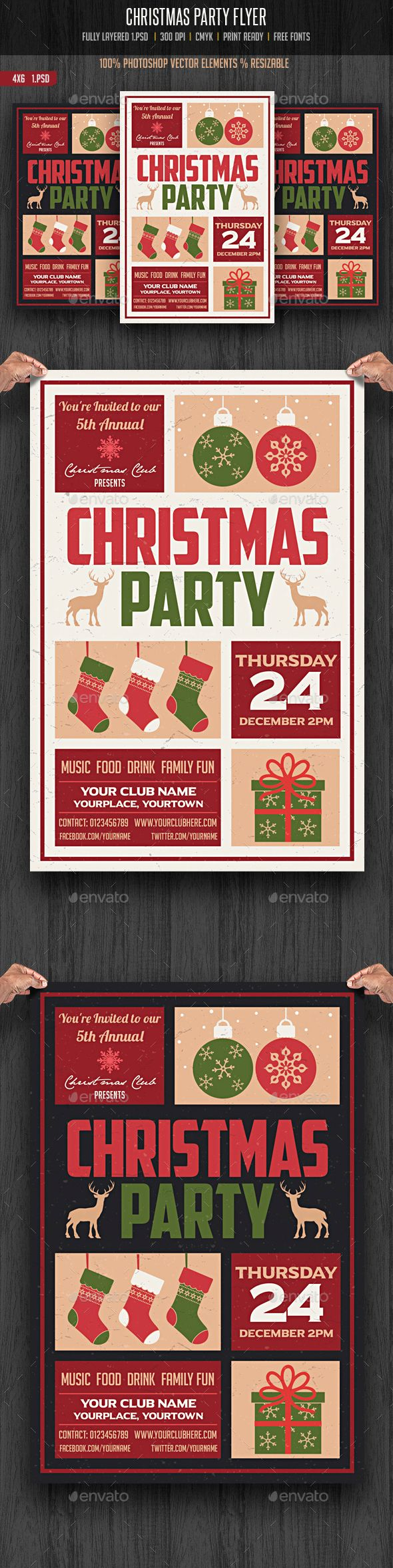 Christmas Party Flyer Template PSD #design #xmas Download: http://graphicriver.net/item/christmas-party-flyer/13535954?ref=ksioks