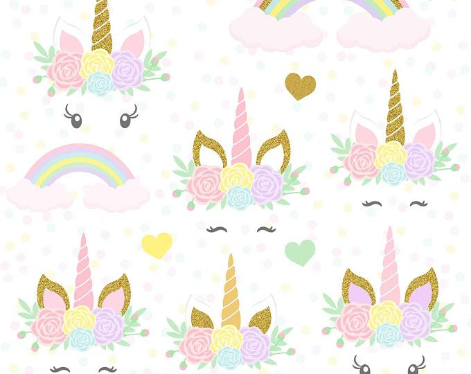 Unicorns Clipart Gold Glitter Unicorns Unicorn Head