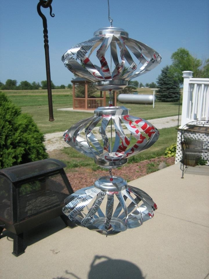 Soda pop cans cut & bent into wind spinner.