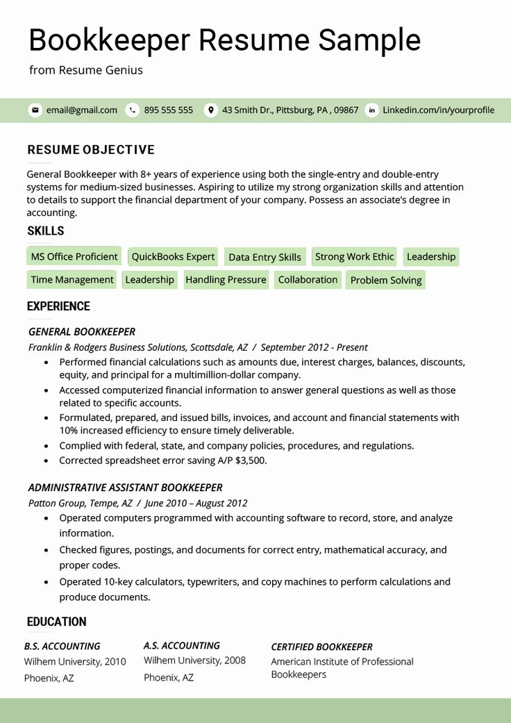 Bookkeeper Resume with Quickbooks Experience Fresh