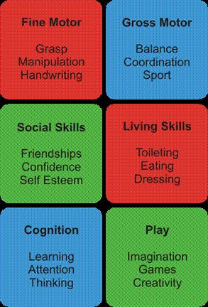 Occupational Therapy: A break down of the specific areas OT may work with children in...there are interventions that you learn in OT to help improve and empower the individual for daily living