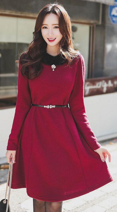 StyleOnme_Rabbit Fur Trim Flared Dress #wine #rabbit #fur #dress #winter #fall #trend #koreanfashion #kstyle #seoul #feminine #elegant #kfashion