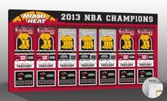 2013 NBA Finals Tickets to History Canvas Print - Miami Heat. Single canvas print of all 2013 NBA Finals Commemorative Tickets. Scores from all 2013 NBA Finals games. Printed on archival canvas and mounted on wooden stretcher bars. Perfect for multiple autographs. Officially licensed by the National Basketball Association.