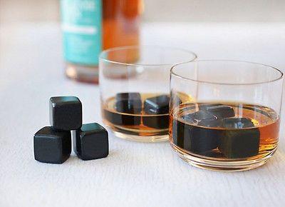 Teroforma Whiskey Stones set of 9 Rocks Soapstone Black Gift DAD whisky cubes
