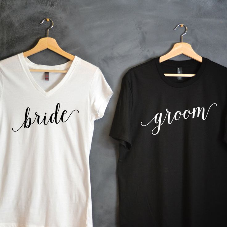 Bride & Groom T-shirt Package, Bride shirt, Groom shirt, Wedding shirts, wedding gift, bridal party shirts, honeymoon shirts, Hubby, Wifey by HelloHandpressed on Etsy https://www.etsy.com/listing/252749215/bride-groom-t-shirt-package-bride-shirt
