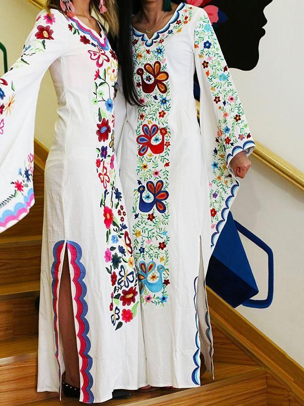 dfbcab336 Pink Blue Fairy Sleeves Embroidered Maxi Dress