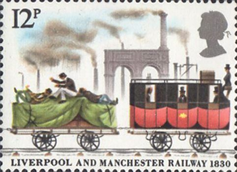 150th Anniversary of Liverpool and Manchester Railway 12p Stamp (1980) Goods Truck and mail-coach at Manchester