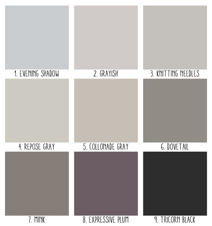 1. Evening Shadow; 2. Grayish- I use this on my walls at home. It's a nice light gray with a hint of lavender; 3. Knitting Needles; 4. Repose Gray- one of their most popular grays- a great warm neutral; 5. Collanade Gray; 6. Dovetail- a rich gorgeous taupe-gray; 7. Mink- another favorite that looks great in small rooms; 8. Expressive Plum- a pretty dusky gray-purple that would make a nice accent; 9. Tricorn Black- a very soft black tone for some serious drama in a space.