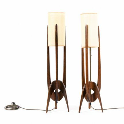 Maker : Modeline | USA  Designer : Unknown  Date : 1960s  Materials : Walnut and Brass  Dimensions : H 910mm, W 210mm     Description :  Modeline lamps are universally loved for their adventurous shapes and sculptural elements. This generous design with walnut and brass combinat