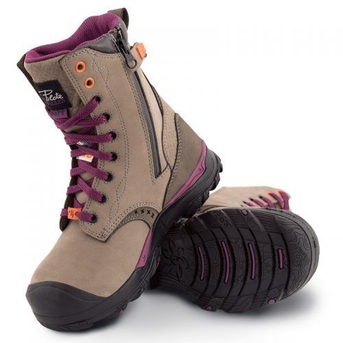 Women's steel toe work boots. Waterproof, CSA approved, Slip resistant. Grey colour.