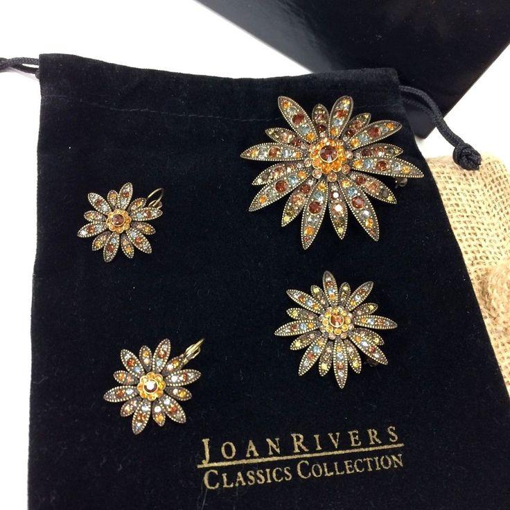 Joan Rivers Classic Crystallized w/ Swarovski Two Brooches and Earring Set HTF 4 #JoanRivers
