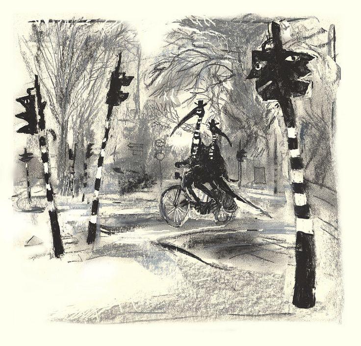 2 meneertjes op de fiets illustratie Maaike Putman