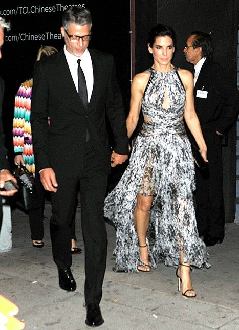 Sandra Bullock Sizzles in Black and White Dress With Bryan Randall - Us Weekly