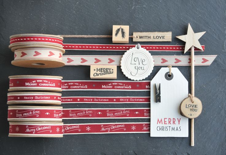 East of India Christmas ribbons, tags and stamps. Craft items